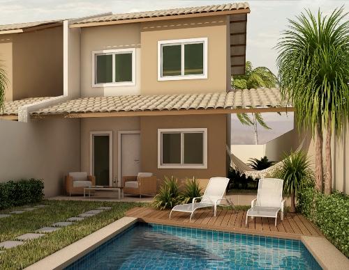 Rumah 2 lantai type 21 dengan kolam renang