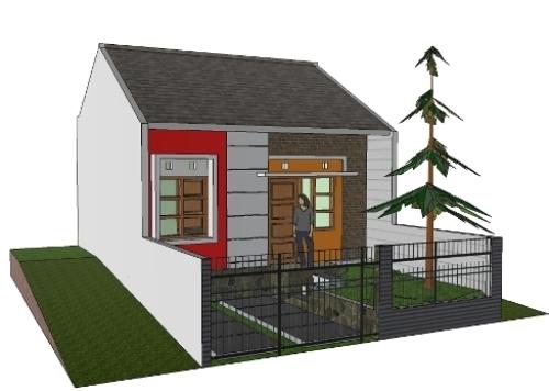 Tampak depan rumah type 21 minimalis