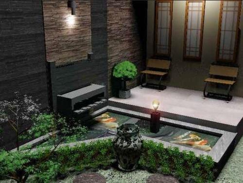 Teras rumah minimalis dengan kolam berdesain modern