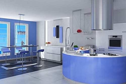 Warna biru lembut membawa suasana tenang di dapur