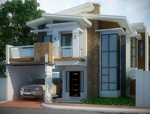 carport pada gambar rumah minimalis modern 2 lantai