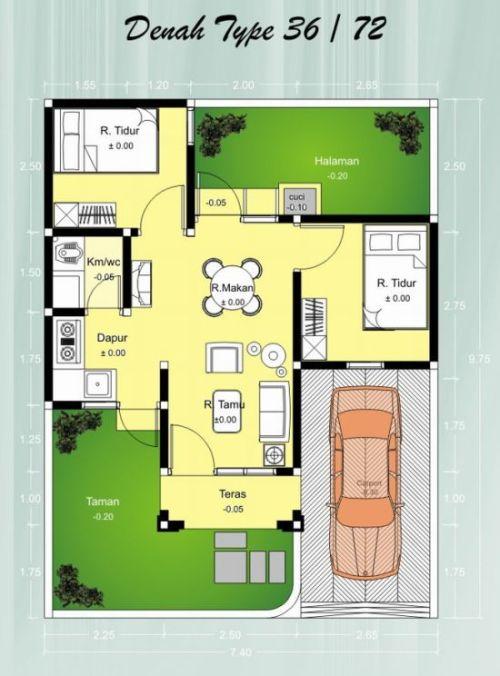 denah rumah minimalis type 36-72