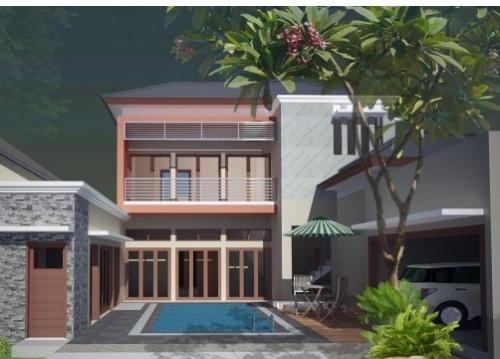 desain interior rumah mewah 2 lantai dengan kolam outdoor