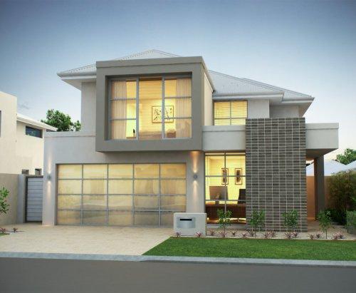 desain rumah minimalis modern 2 lantai type 90 kontemporer dengan full-window