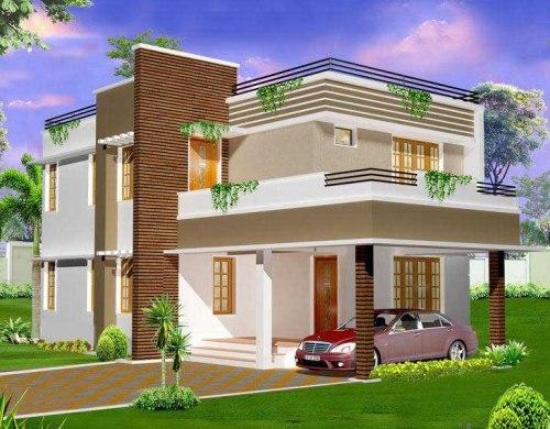 model rumah minimalis 2 lantai dengan fasad gaya Eropa modern