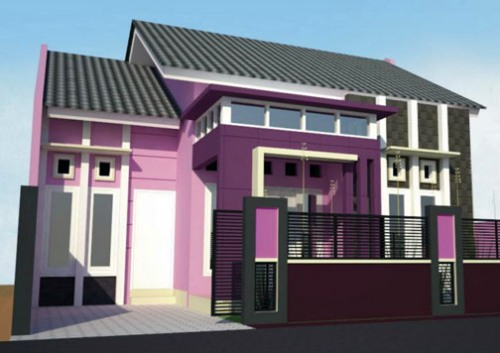 Cat eksterior rumah minimalis ungu
