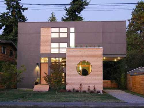 Cat eksterior rumah modern dengan gradasi warna ungu