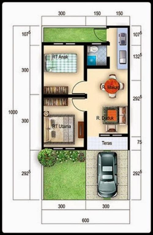 Contoh denah rumah type 36 minimalis