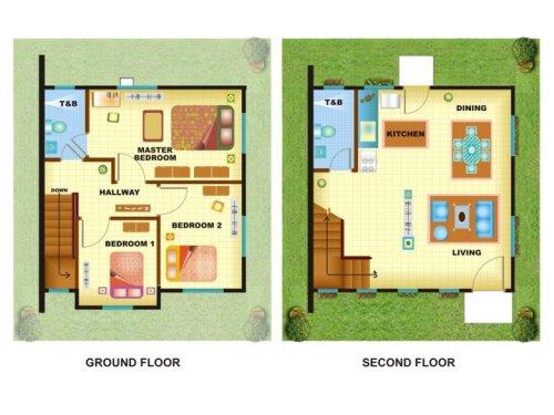 Contoh sketsa rumah 2 lantai minimalis 3 kamar tidur