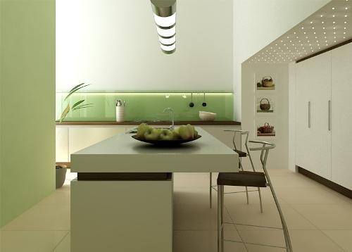 Dapur dengan furniture sederhana bernuansa kontemporer