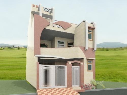 Desain eksterior rumah 2 lantai dengan fasad unik