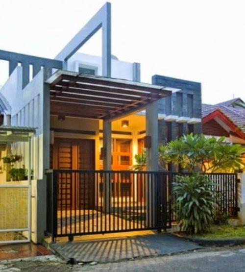 Eksterior rumah minimalis unik dengan canopy