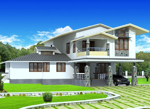 Fasad rumah 2 lantai bernuansa alami dan asri