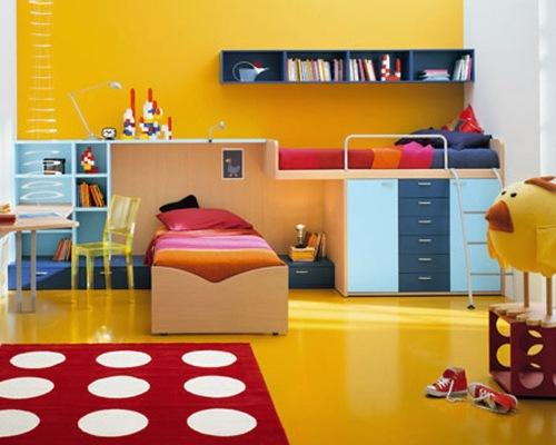 Kombinasi warna ceria cocok untuk kamar anak laki-laki maupun perempuan