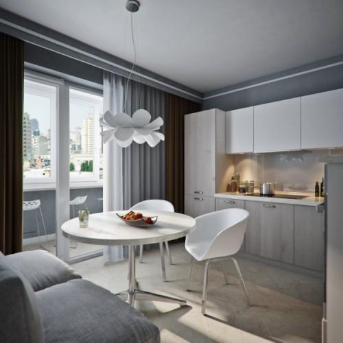 interior dapur dan ruang makan dengan akses cahaya alami