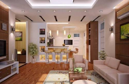 interior ruang tamu minimalis type 45 Menyatu dengan Dapur