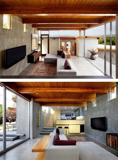 Contoh interior rumah tepi bukit dengan konsep terbuka