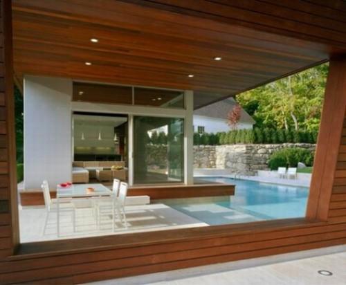 Contoh teras modern dengan aplikasi kayu