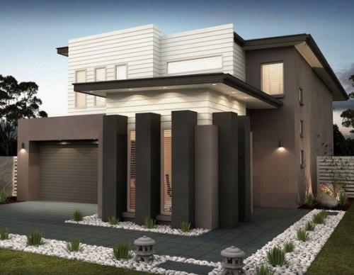 Eksterior rumah minimalis bernuansa alami dengan cat netral
