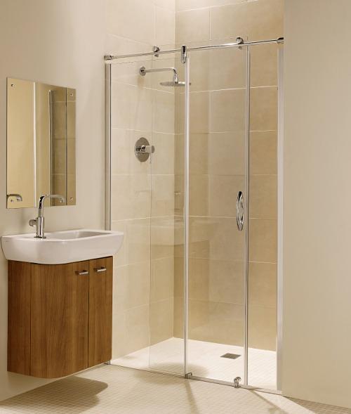 Pintu kaca transparan untuk kamar mandi