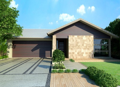 Rumah sederhana dengan taman hijau