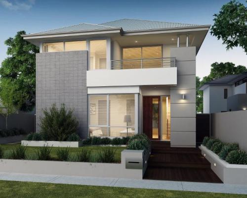 desain rumah minimalis 2 lantai type 60 dengan taman asri