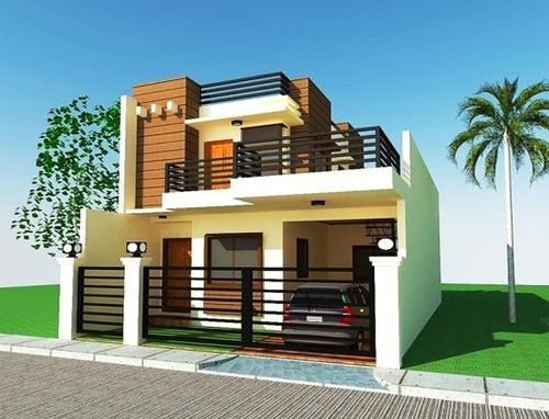 model rumah minimalis 2 lantai dengan atap datar untuk decking