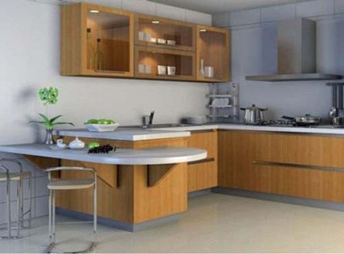 Dapur simple dengan kitchen island mini