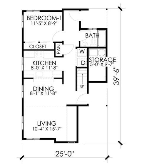 Denah lantai 1 rumah tingkat minimalis