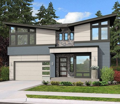 Desain rumah mewah minimalis dengan atap sandar