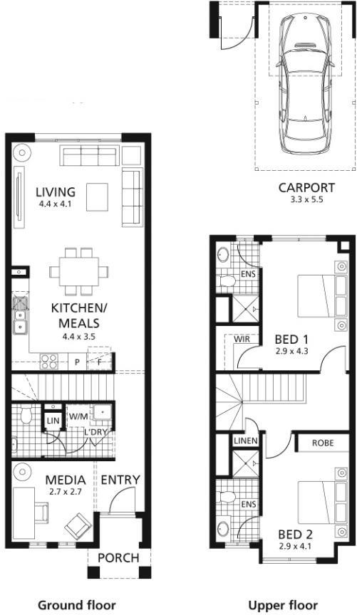 Pembagian ruang di rumah 2 lantai modern