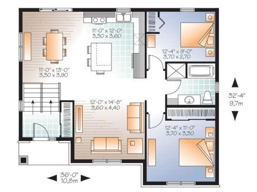 Rencana ruang rumah type ranch house di lot memanjang