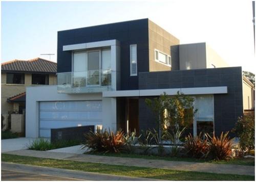Rumah mewah 2 lantai dengan fasad hitam-putih