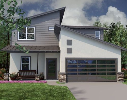 Rumah minimalis 2 lantai dengan atap sandar