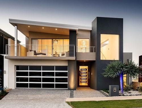 Tampak depan rumah minimalis bernuansa hitam-putih