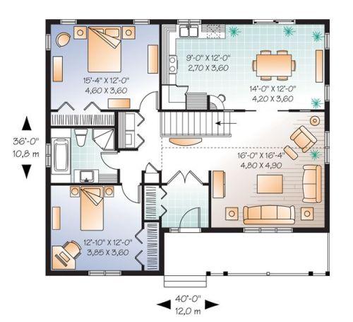 denah rumah minimalis type 36 model ranch house 2 kamar tidur