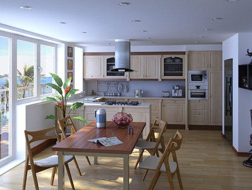 Contoh dapur dan ruang makan minimalis transparan dengan view laut - Interiorpicturez