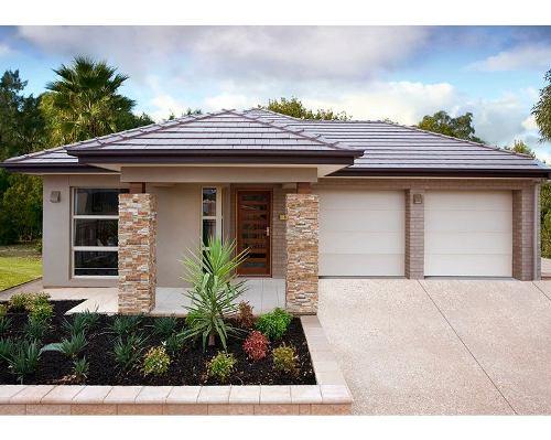 Contoh tampak depan rumah minimalis 1 lantai dengan 2 garasi
