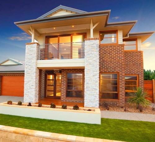 bentuk rumah minimalis 2 lantai dengan elemen batu alam dan bata - Houseandland