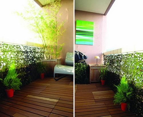 Balkon kayu dengan pagar tanaman hias - Stylisheve