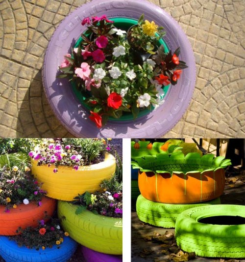 Ban bekas untuk pot tanaman - Reteteleculinare