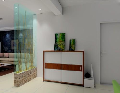 Partisi kaca sebagai hiasan di rumah minimalis - Download3dhouse