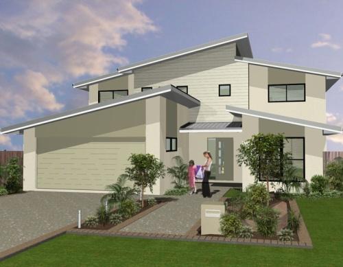Rumah 2 lantai dengan atap skillion bertingkat - Melissa Wilson - Pinterest