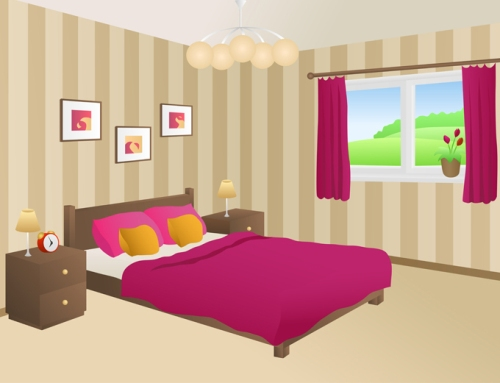 Wallpaper ruang tidur motif vertikal - Shutterstock