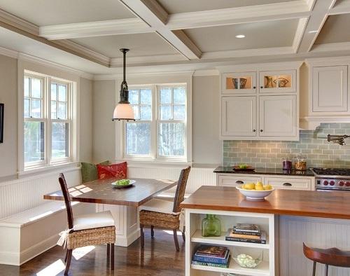 Breakfast nook modern dengan meja kayu -Bestgarden