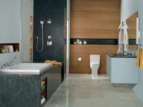 Kamar mandi minimalis kontemporer - Houzz