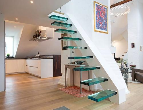 Model tangga rumah minimalis, floating stairs kaca - Bytelogicsolutions
