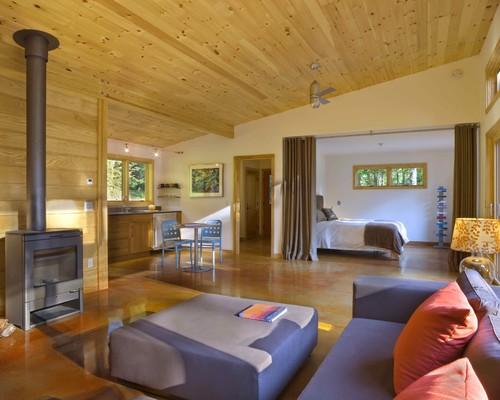 Ruang Keluarga dan Kamar di rumah kayu - Houzz