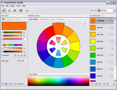 Roda warna di ColourSchemer - Colorschemer