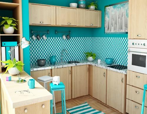 Dapur bertema laut dengan biru stabilo - Ideaonline